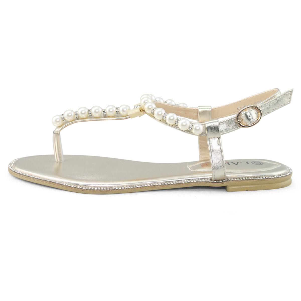 womens white rhinestone flat pearl leather sandals wedding ...