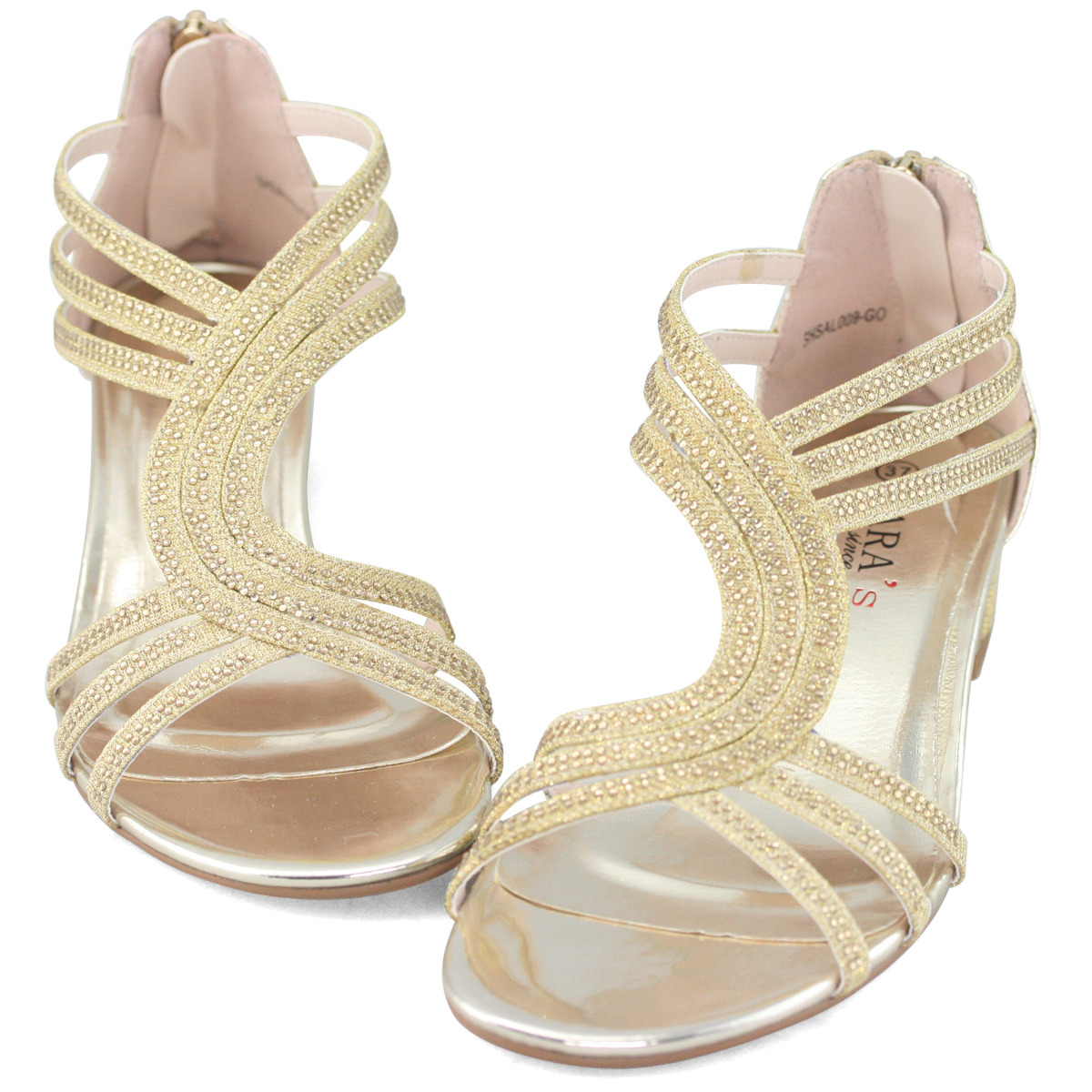 Womens diamante wedding dress shoes comfort silver gold for Gold dress sandals for wedding