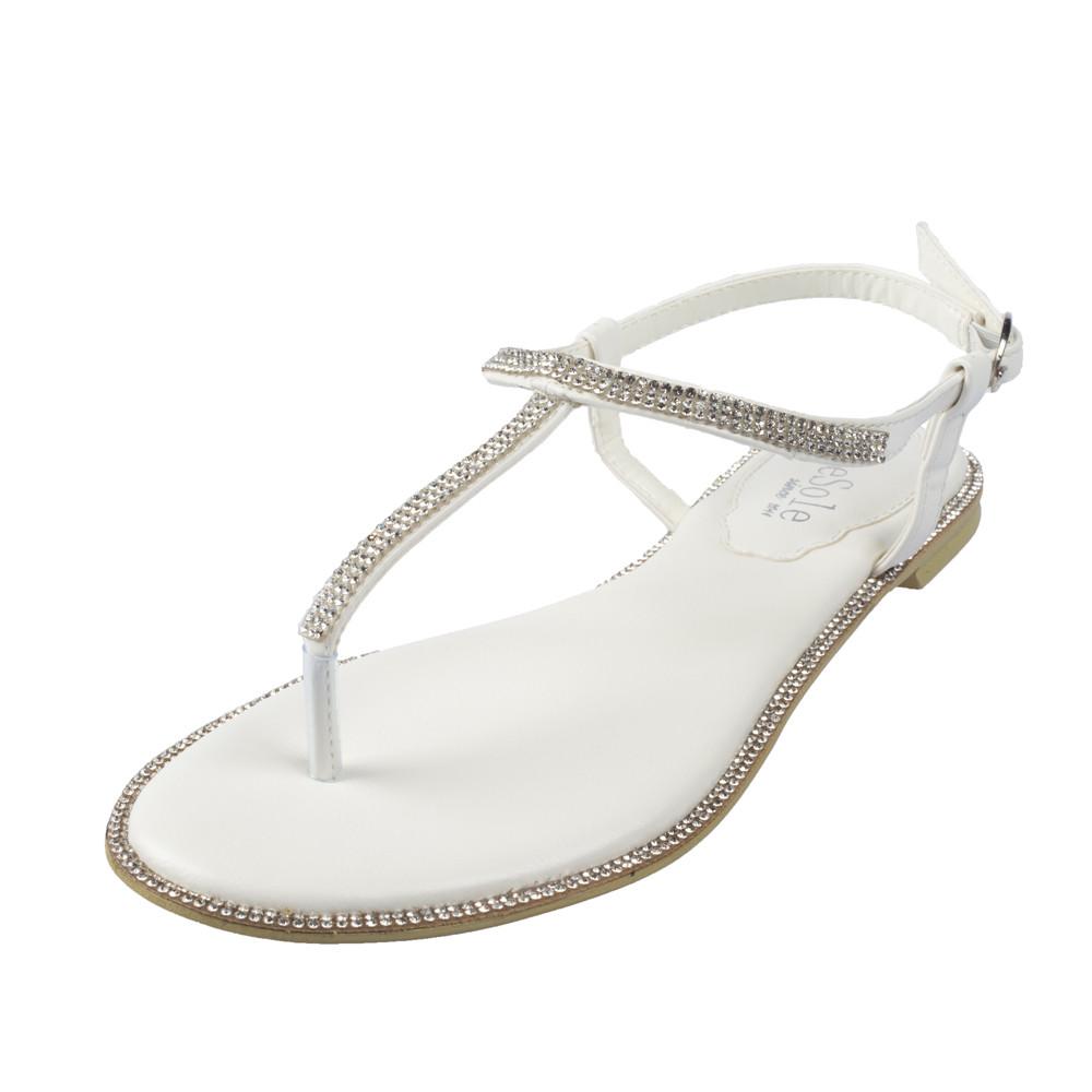 SheSole womens white rhinestones flats sandals bridals ...