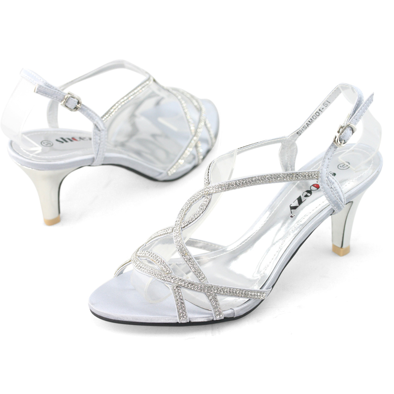 Womens-Shining-Strappy-Diamante-Wedding-Bridesmaid-Prom-Dress-Kitten-Heels-Shoes