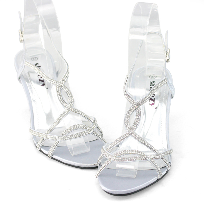 SHOEZY-Womens-Silver-Strappy-Diamante-Wedding-Prom-Dress-Low-Kitten-Heels-Shoes