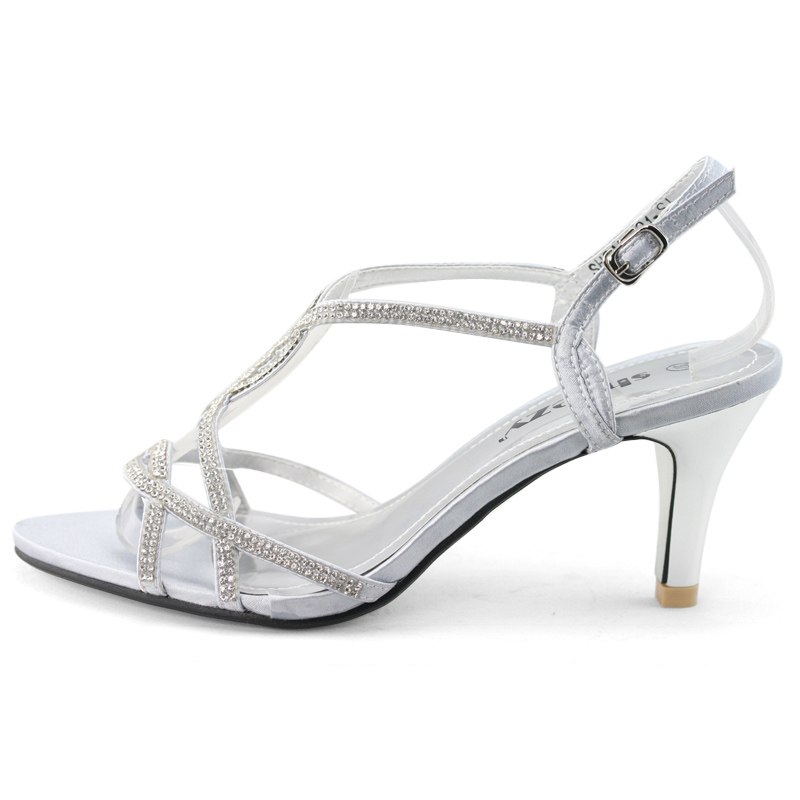 Womens silver satin diamante peep toes pump bridal bridesmaid ...
