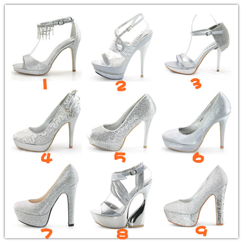 New Ladies Silver satin high heels platform wedding evening bridesmaid shoes UK