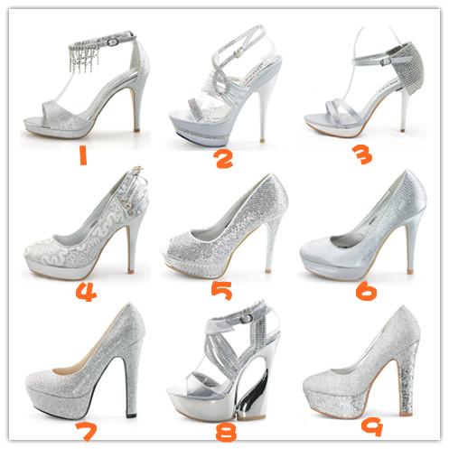 New Ladies Silver satin high heels platform wedding evening bridesmaid shoes UK