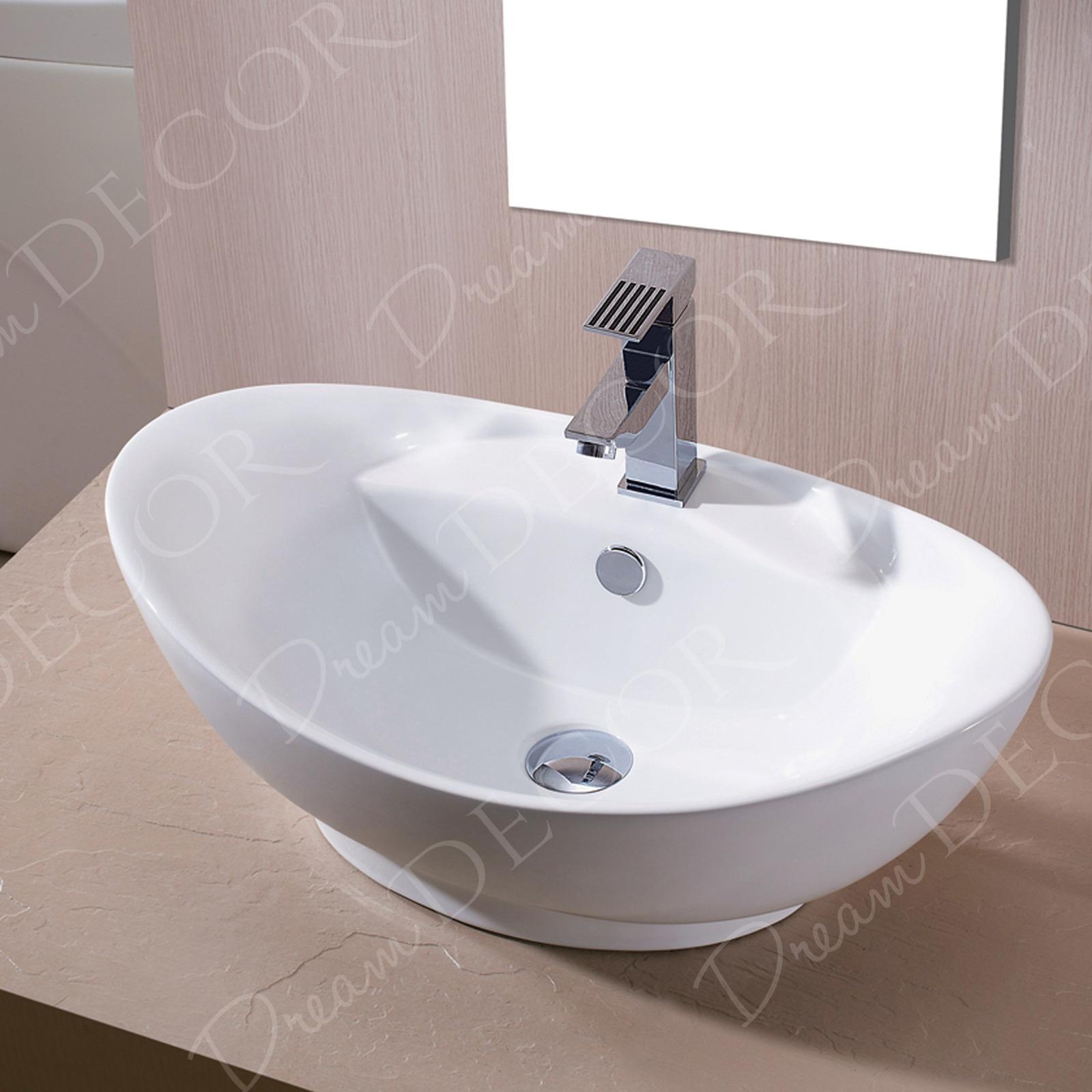 Bathroom Egg Porcelain Ceramic Vessel Vanity Sink & Brushed Nickel ...