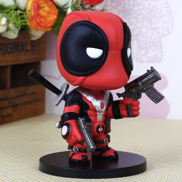 Cute super hero red deadpool wade wilson 14cm 5 6 pvc for Dead pool show box