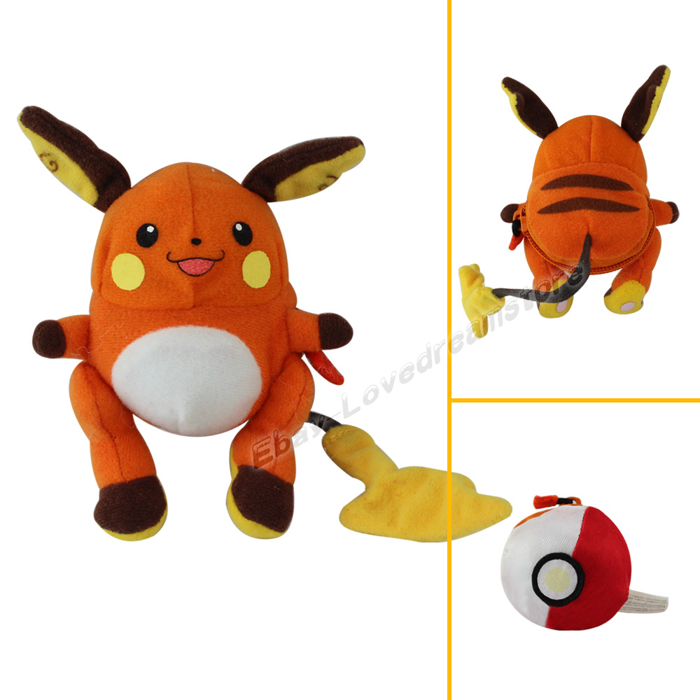 Squishy Pokemon Toys : Rare Pokemon Raichu Pokeball Transformers 12cm Soft Plush Toy #026 eBay