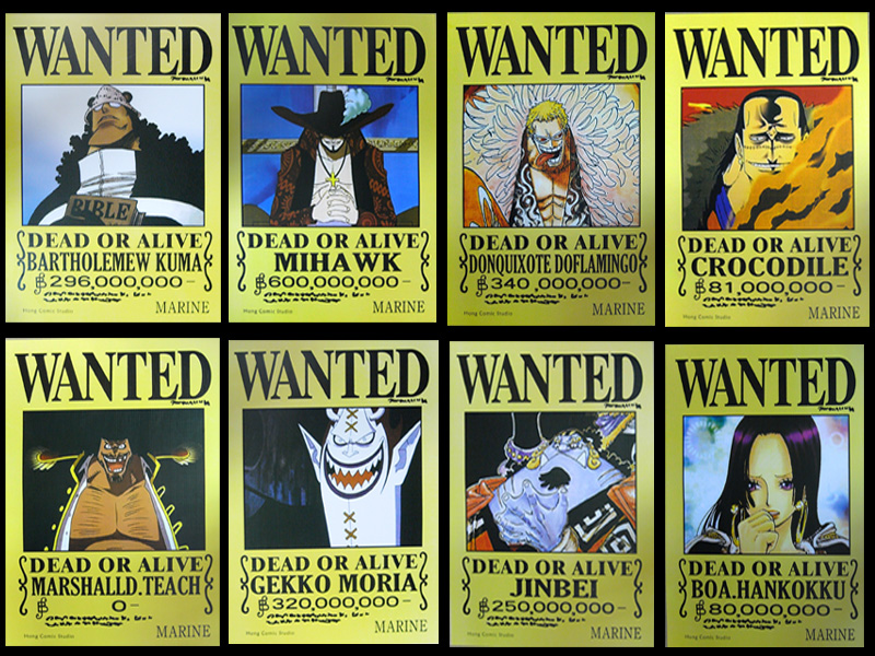 Details about One Piece Boa Hancock Crocodile Wanted Poster 8pcs SetOne Piece Luffy Wanted Posters