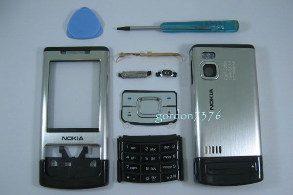 Silver-Housing-Fascias-Case-Cover-for-Nokia-6500s-6500-slide-Keypad