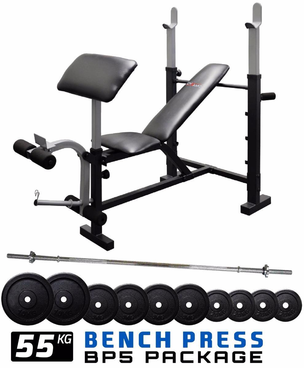 Bench press preacher pad ft barbell kg weight plates