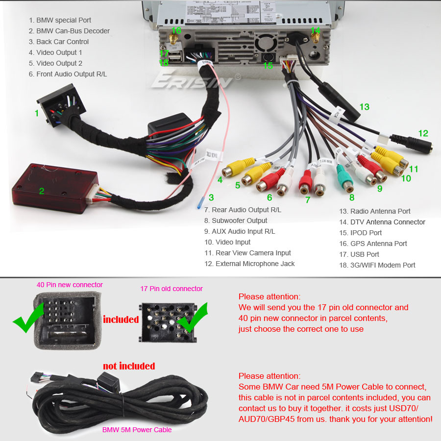 E39 Replacement Head Unit Non Standard Connections