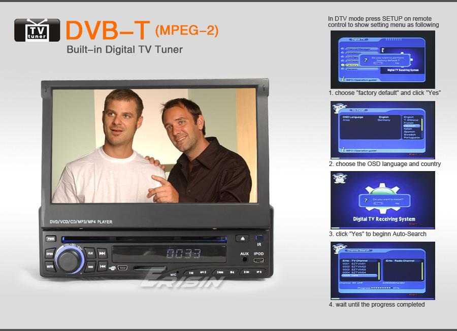 ES628AU 7 1 Din HD Touch Screen Car DVD Player GPS Navigation DVB T