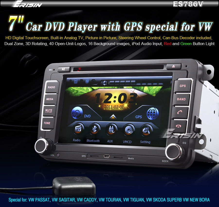 ES786EN 7 HD Touch Screen Car DVD Player GPS Sat Nav PiP iPod VW