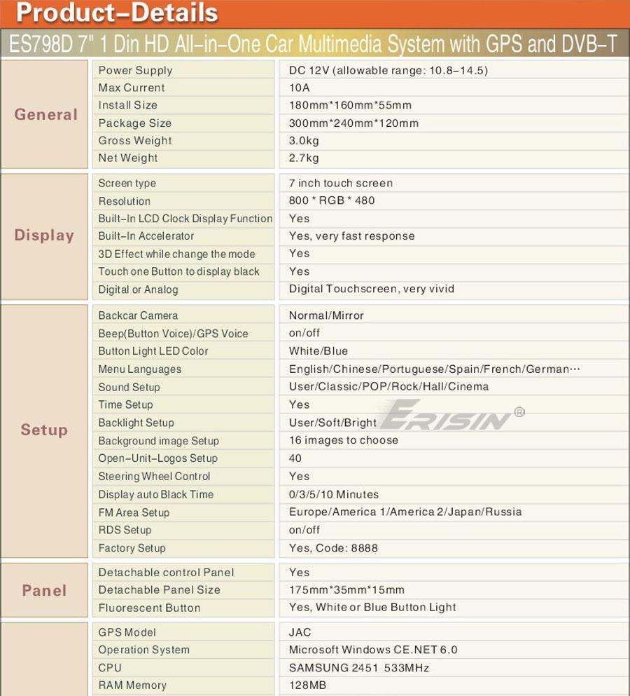 "ES798EN 7"" HD Touch Screen 1 DIN Car DVD Player GPS SAT Nav iPod DVB T"
