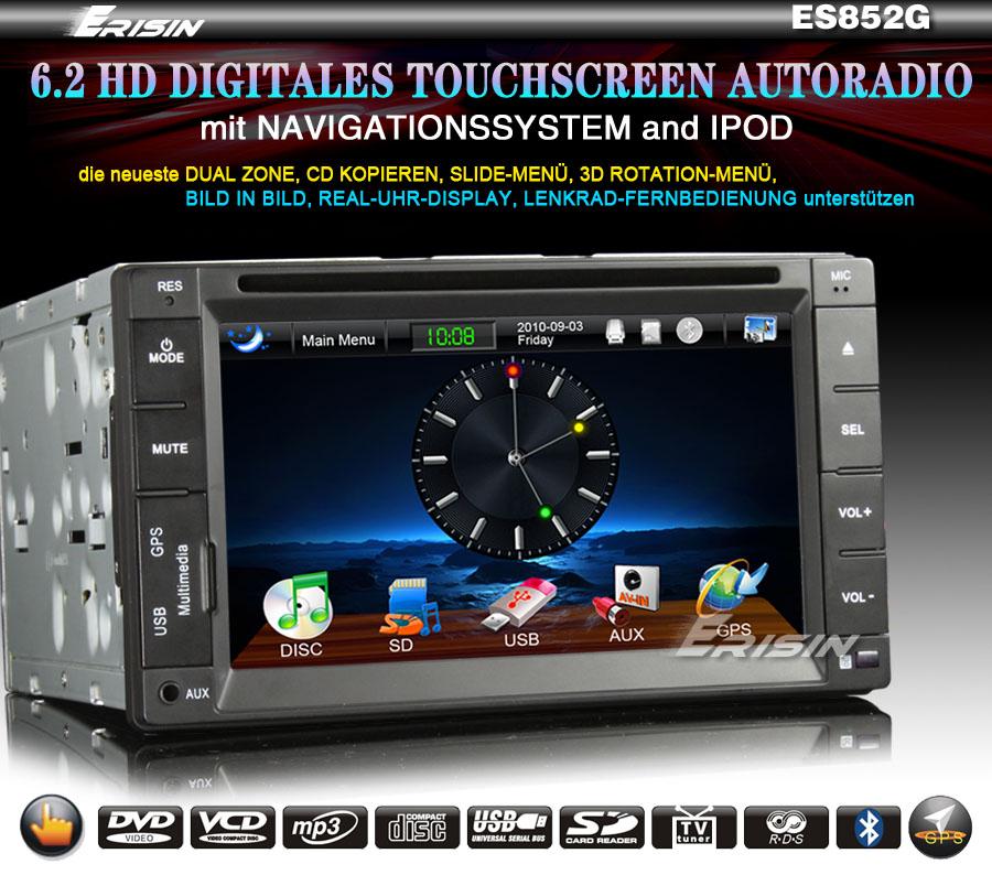 ES852DE 6.2 2 Din HD Touchscreen Autoradio Car DVD Player IPOD GPS