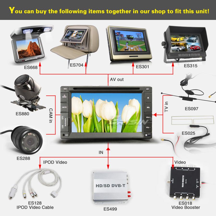 ES862EU 6.2 2 Din HD Car DVD Player Autoradio GPS Sat Nav DVB T PiP