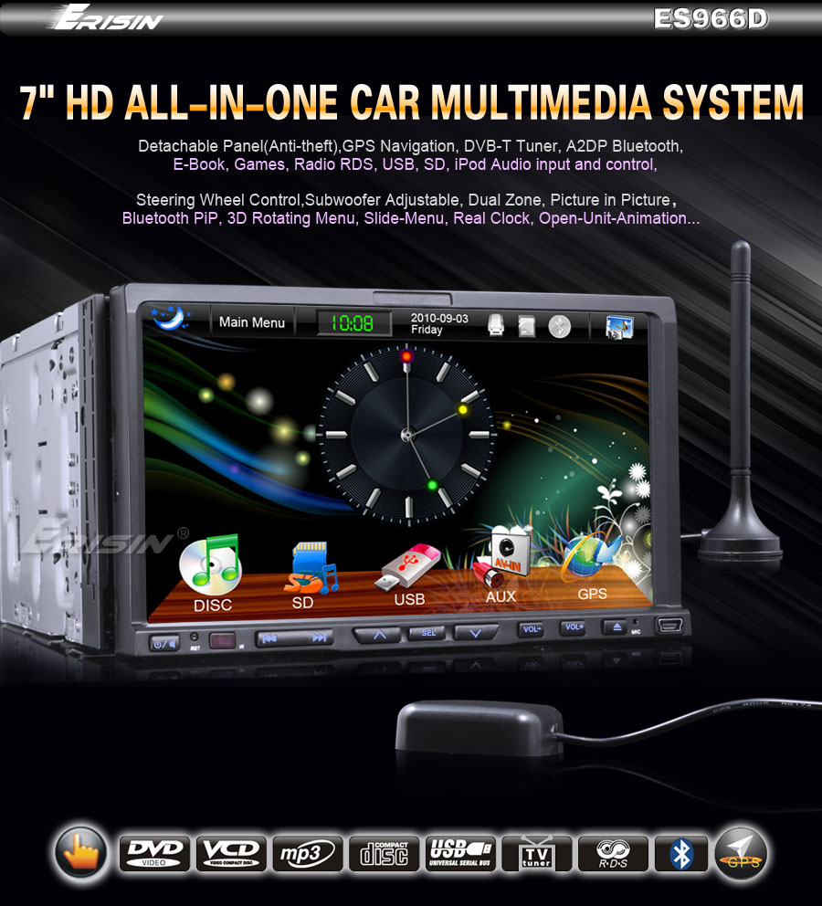 ES966EU 7 2 Din All in One Autoradio HD Touch Screen Car DVD Player