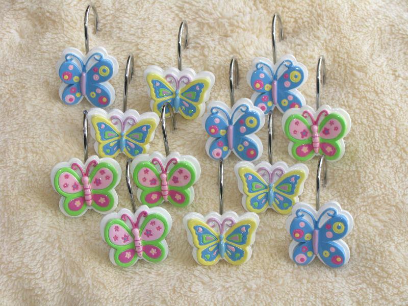 Lillian Vernon 12 Butterfly Shower Curtain Hooks Rings Ebay
