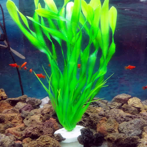 Long plastic green grass plant aquarium decor water weeds for Green water in fish tank