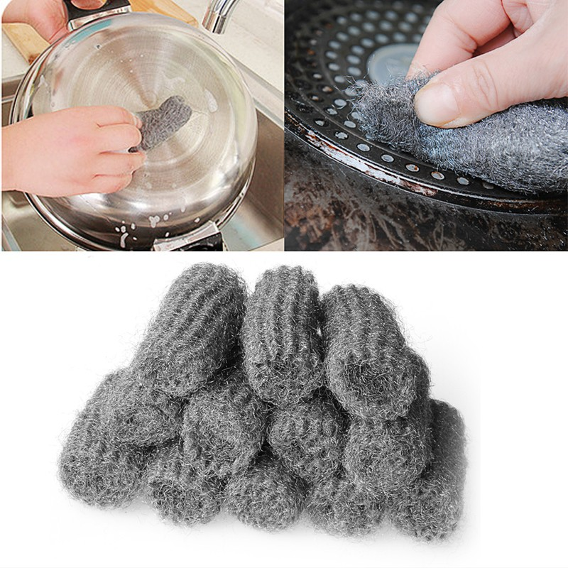 hot 12pcs steel wool pads kitchen wire cleaning ball On steel wool to clean stainless steel