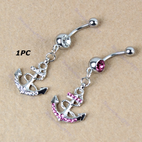 1pc Crystal Boat Anchor Stainless Steel Belly Navel Ring Piercing