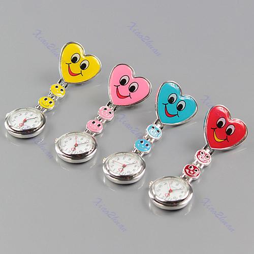 Heart-Shape-Smile-Face-Nurse-Clip-On-Fob-Brooch-Hanging-Pocket-Watch-Fobwatch