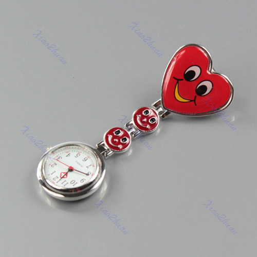 Smile-Face-Heart-Shape-Nurse-Clip-On-Fob-Brooch-Fobwatch-Hanging-Pocket-Watch