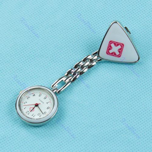Red-Cross-Triangle-Nurse-Clip-Fob-Brooch-Pendant-Hanging-Pocket-Watch-Fobwatch