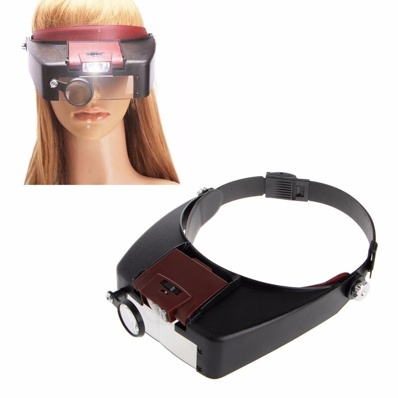 headband headset 10x magnifier loupe magnifying glass two. Black Bedroom Furniture Sets. Home Design Ideas