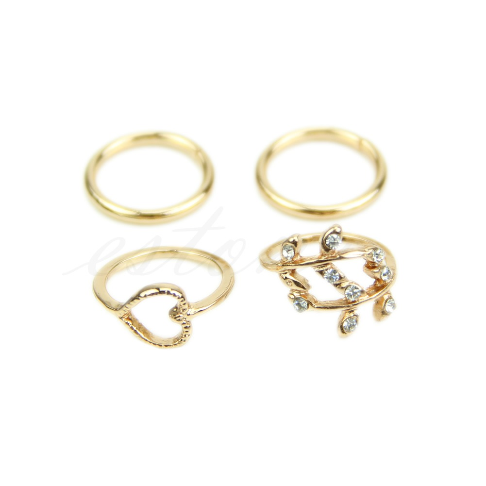 4pcs set rings gold plated plain above