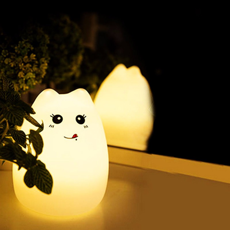 Silicone Cat LED Children Animal Night Light USB Soft Cartoon Baby Nursery  Lamp
