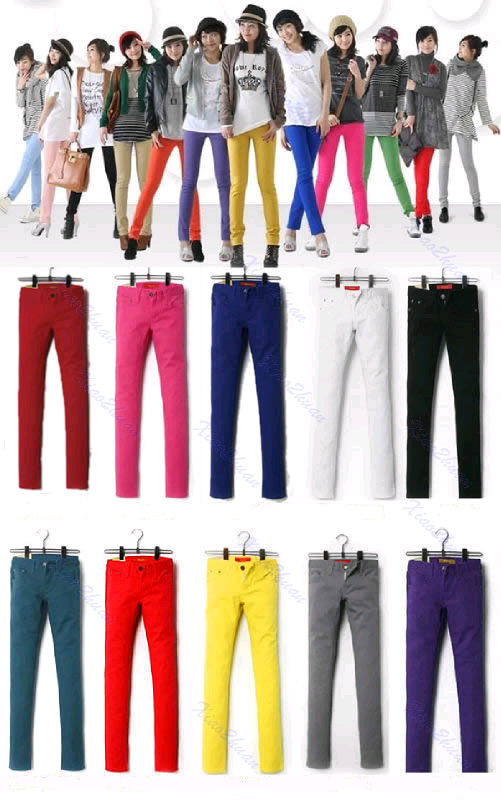 Women-Sexy-Candy-Colors-Pencil-Pants-Slim-Fit-Skinny-Stretch-Jeans-Trousers-Hot