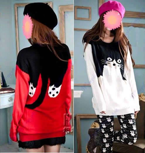 Women-Girls-Loose-Casual-Cat-Pattern-Round-Neck-Long-Sleeve-Knitted-Sweater-Hot