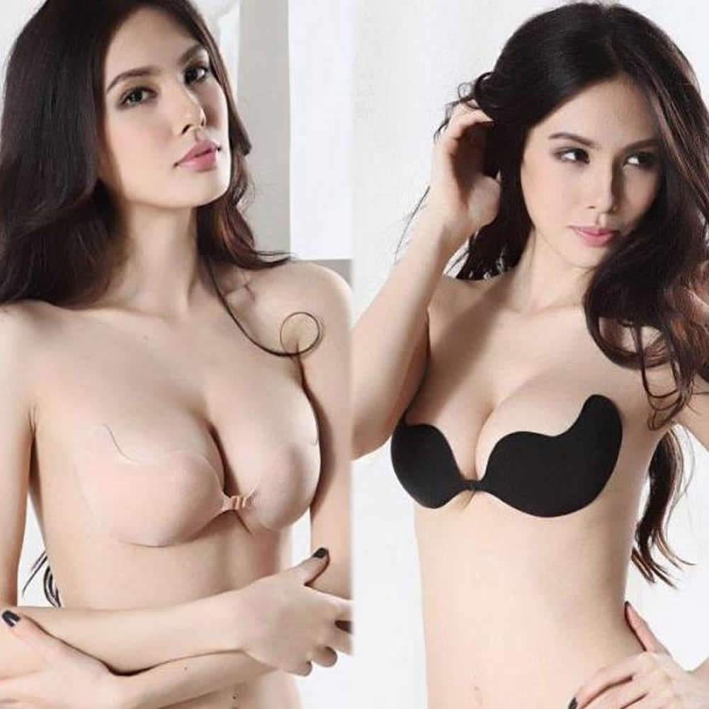 women push up self adhesive silicone bust strapless invisible breast bra sexy ebay. Black Bedroom Furniture Sets. Home Design Ideas