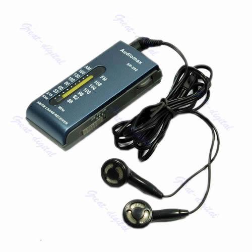 portable am fm 2 band pocket radio receiver earphone b ebay. Black Bedroom Furniture Sets. Home Design Ideas