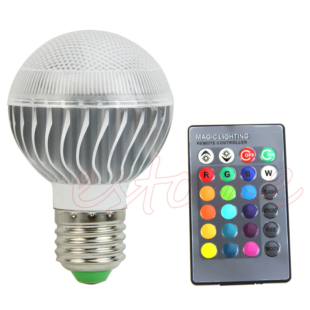 e27 15w 85 265v rgb led lamp color changing light bulb with remote control. Black Bedroom Furniture Sets. Home Design Ideas
