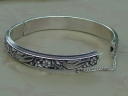 silver and black enamel bracelet