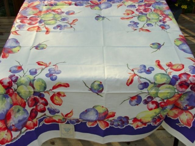 1940u0027s Hart To Find MWT Blue Fruit Vintage Tablecloth