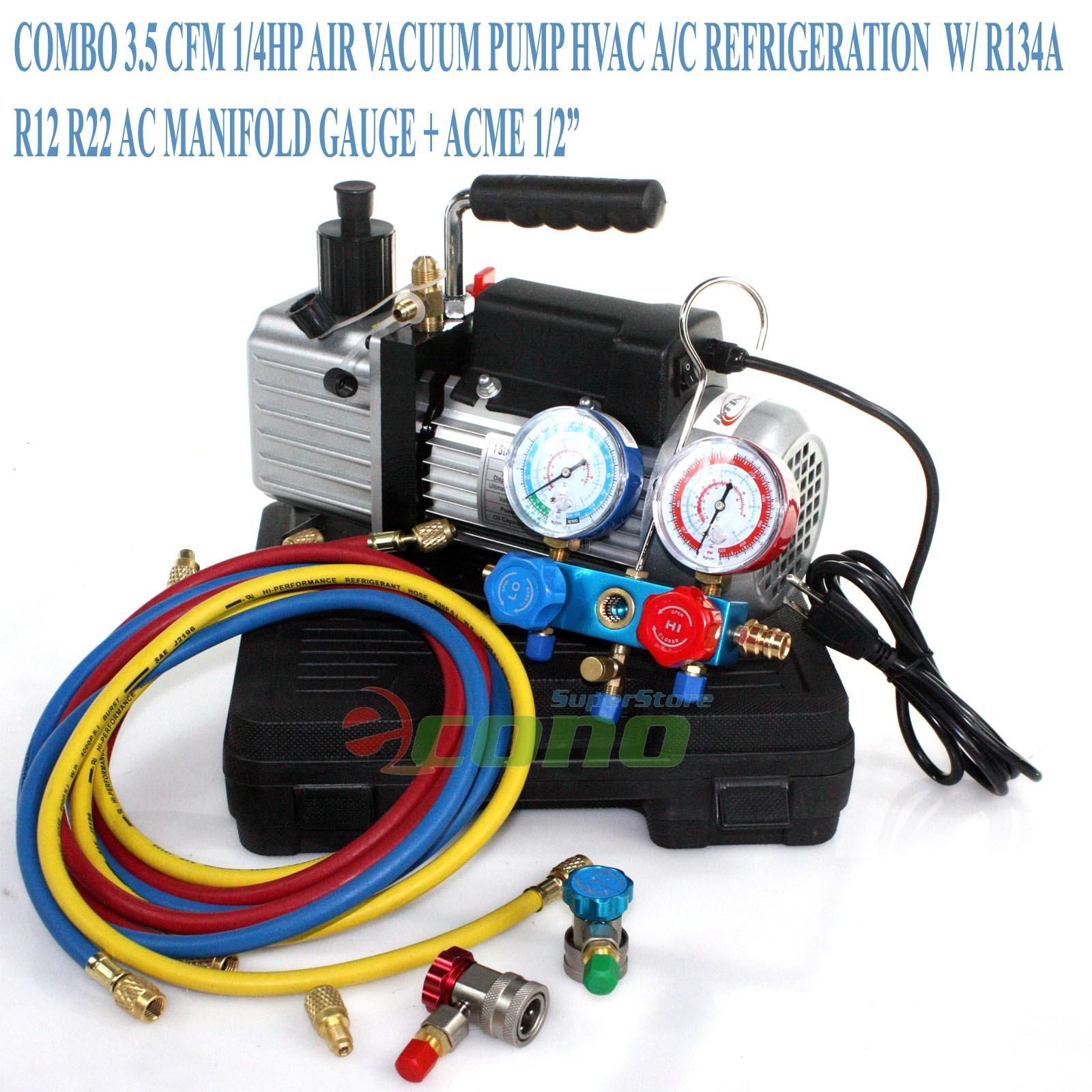 Combo 3 5CFM 1 4HP Air Vacuum Pump HVAC A C Refrigeration Kit AC Manifold Gauge