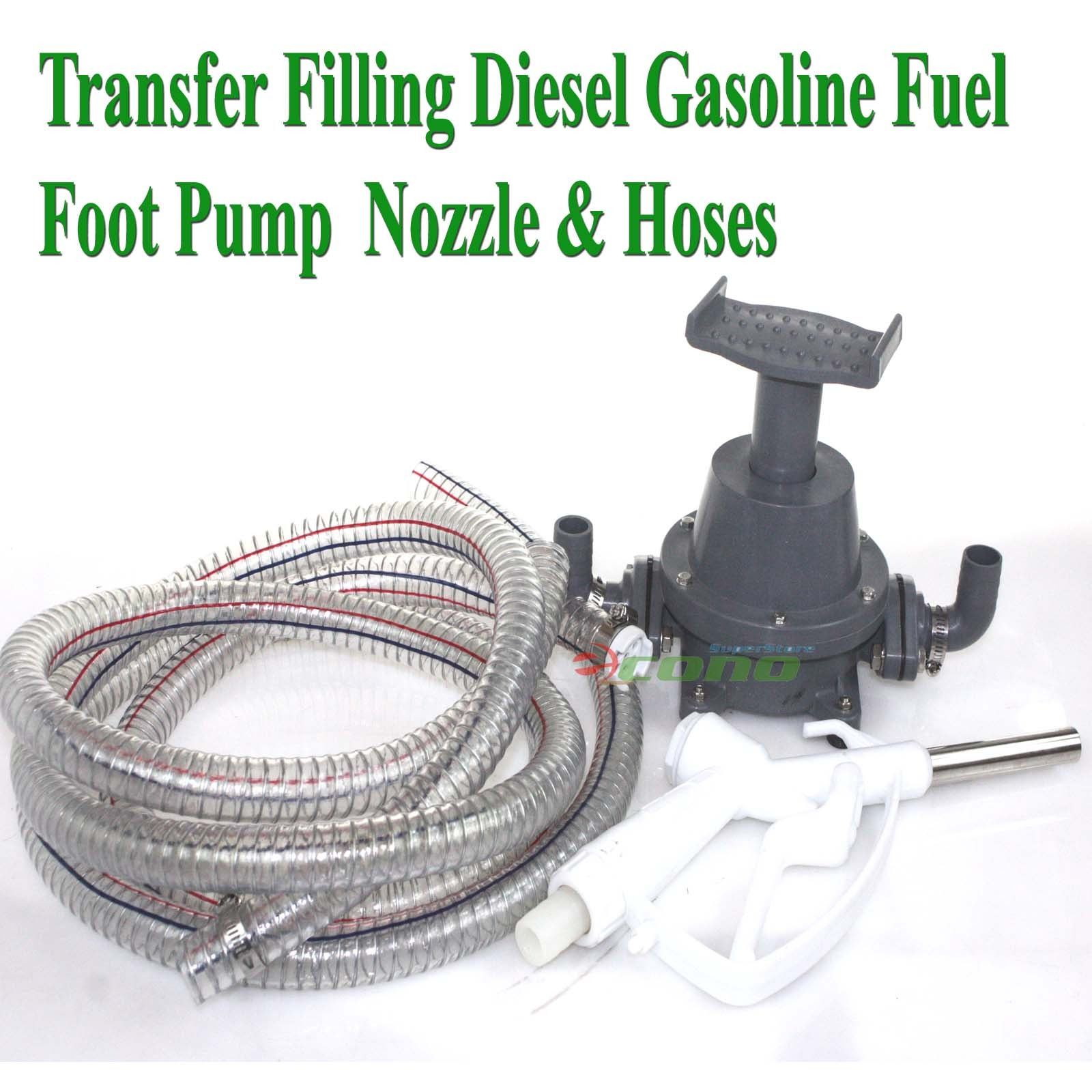 Transfer Refilling Gasoline Diesel Fuel Water Foot Pump Kit Nozzle w 6' Hose