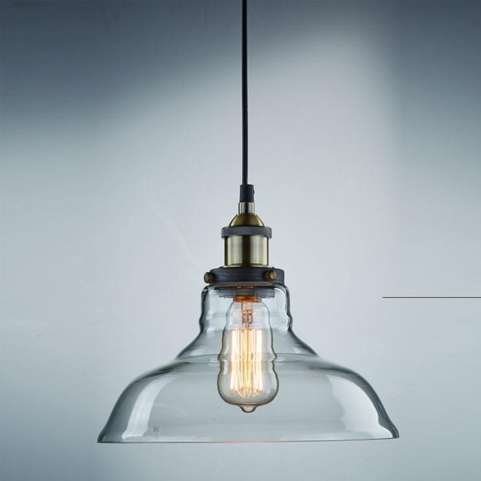 lighting industrial edison 1 light glass shade ceiling pendant lamp fixture - Edison Chandelier