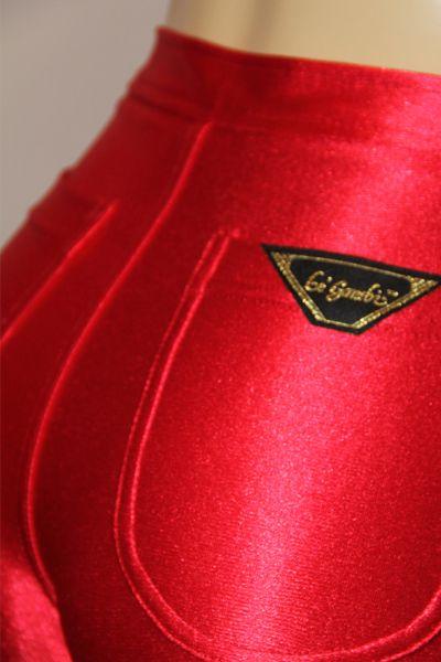 Nwt Sz 4 Red Legambi Shiny Spandex Disco Jeans Pants Le