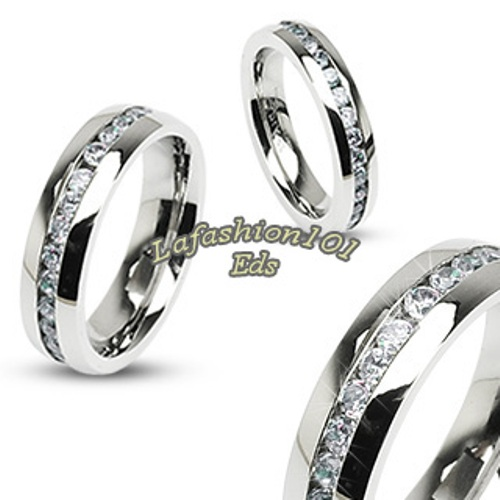 Top-Selling-316L-Stainless-Steel-His-Hers-2-Eternity-Ring-Bands-w-Clear-CZ