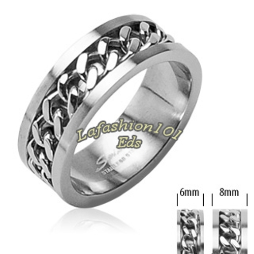316L-Stainless-Steel-w-Chain-Center-Mens-Womens-Wedding-Ring-SZ-5-13