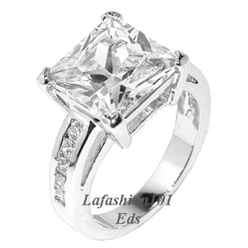 Solid 4 6ct Womens Princess Cut Wedding Engagement Ring Size 6 7 8 9 10