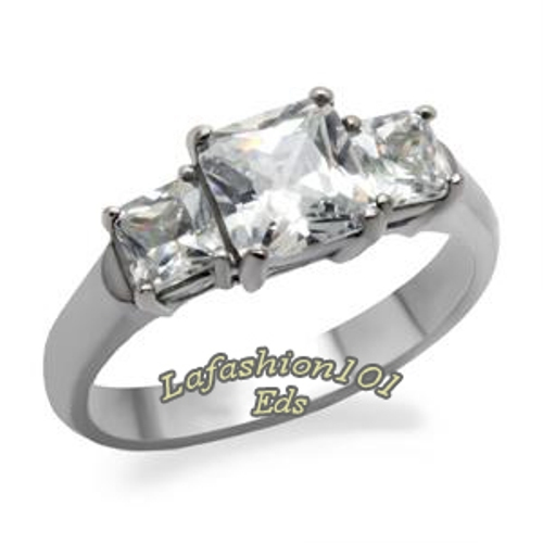 Classic-Stainless-Steel-3-Princess-stone-Womens-Wedding-Engagement-Ring-SZ-5-10