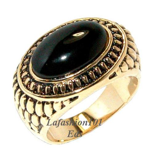 6ct black onyx gemstone s 18k gold plated ring size 9