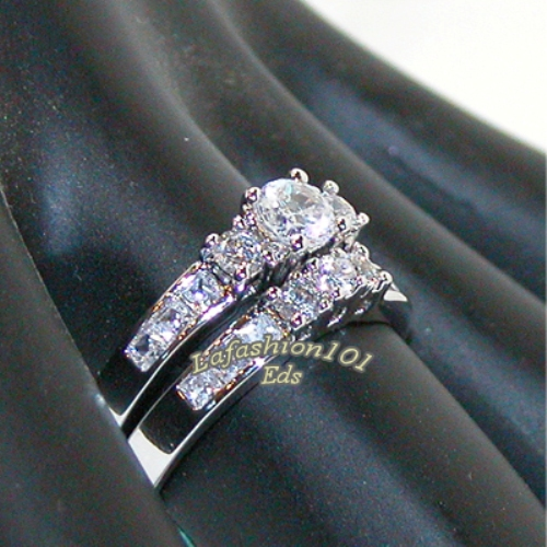 1-35ct-Rhodium-Plated-Womens-WEDDING-ENGAGEMENT-RING-SET-SIZE-5-6-7-8-9-10