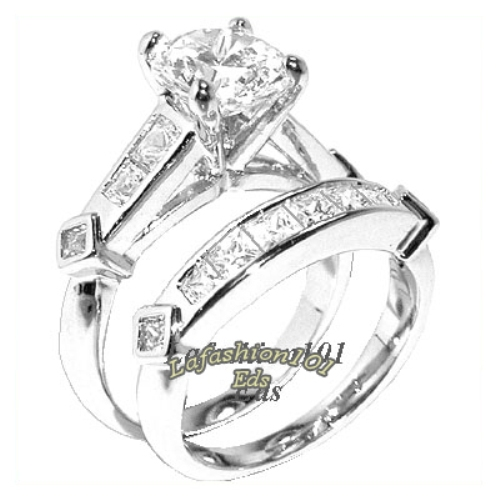 255ct womens brilliantprincess cut wedding rings set sz 567 - Ebay Wedding Ring Sets