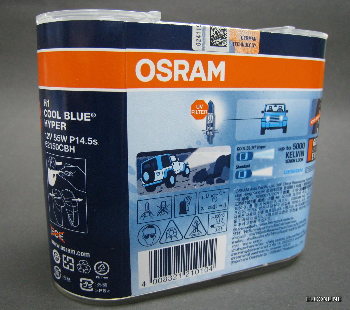 h1 osram gtcs 12v 55w cool blue hyper white 5000k kelvin. Black Bedroom Furniture Sets. Home Design Ideas